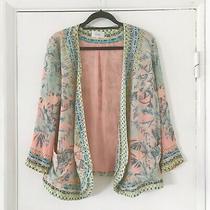 Bnwot Camilla Coral Aqua Palm Leaf Print Stone Embellished Kimono Jacket Size 10 Photo