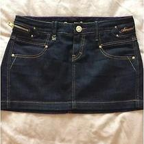 Bnwot Genuine Armani Exchange Dark Blue Denim Mini Skirt Uk Size 8 Photo