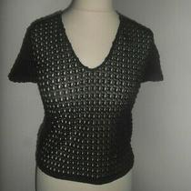 Bnwot Zara Woman Black Lace Short-Sleeved v-Neck Top T-Shirt Size S 8 10 Photo