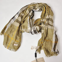 Bnwt 100% Auth Burberry Khaki Checked Linen Silk Scarf  Photo