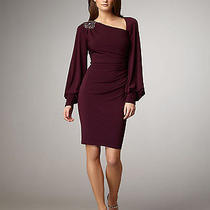 Bnwt 490 High-End David Meister Purple Long-Sleeve Asymmetric Dress Sz 6 Photo
