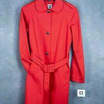 Bnwt Anne Klein Belted Ladies Red Trench Coat Size 8 Msrp 149.99 Lined Photo