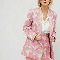 Bnwt Asos Pink Jacquard Metallic Rose Gold Floral Suit Jacket Skirt 6 8 Rrp100 Photo