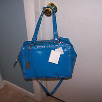 Bnwt Badgley Mischka Turquoise Nina Smooth Handbag  Wow Retails 345 Photo