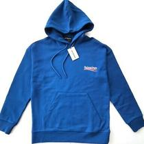 Bnwt Balenciaga Mens Blue Hoodie Sweatshirt Size S Photo