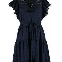 Bnwt - Bcbg Max Azria - Designer Navy Blue Eyelet Mini Dress - Size M - Uk 12 Photo