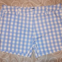 Bnwt Blue & White Check Festival Holiday Shorts 18 New. Barn Dance Fancy Dress Photo
