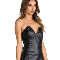 Bnwt Boulee Ashton Black Faux Leather Bustier Corset Strapless Lbd Dress Sz S 4 Photo