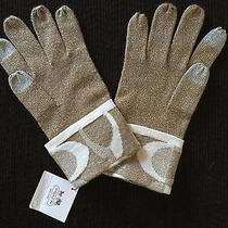 Bnwt Coach Ladies Logo Knit Sparkly Gold Tech Gloves Lowest Price on Ebay Photo