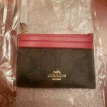 Bnwt Coach Mini Skinny Id Case Signature  in Signature Dark Brown/true Red.  Photo
