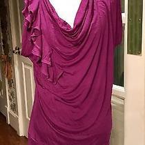 Bnwt Express Asymmetrical Ruffled Purple Top M (Retail 39.90) Photo