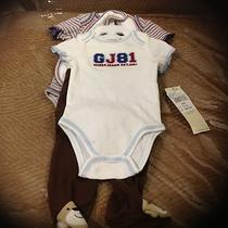 Bnwt Guess Carte's Aby Boys 4 Piece Onesie Pants Bib Set 0/3 Months Infant Photo