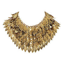 Bnwt h&m Trend Leaf Antiqued Gold Effect Statement Necklace Collar Adjustable Photo