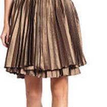 Bnwt Halston Heritage Pleated Cocktail Formal Strapless Short  Dress Bronze Photo