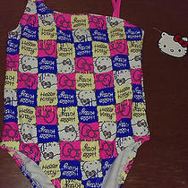 Bnwt Hello Kitty 4t Block Print Pink Blue White Yellow One Pc Swimsuit-So Cute Photo