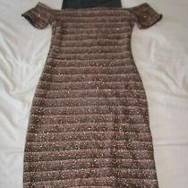 Bnwt Ladies New Look Rose Gold and Black Sparkly Dress Size 12 Photo
