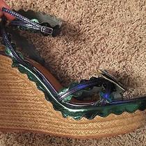 Bnwt Lanvin Blue Butterfly Platform Sandals Shoe Wedge Heels Pumps 42 795 Photo