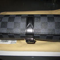 Bnwt Louis Vuitton 3 Watch Case Damier Graphite Canvas Leather 100% Auth Photo