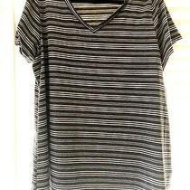 Bnwt Lularoe Christy Tee Top Grey White Black Stripe Print Soft Plus Size 3xl Photo