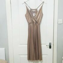 Bnwt Next Pink Rose Gold Pleated Midi Dress 6 Christmas Party Wedding Bridesmaid Photo