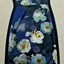 Bnwt Phase Eight Sleeveless 'Camilla'  Floral Rose Navy Stretch Dress - Uk 6/8 Photo