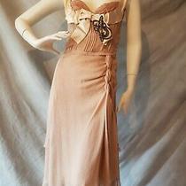 Bnwt Prada Blush Pink Silk Chiffon Netting Ribbon Jet Beads Applique Dress 40 Photo