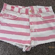 Bnwt Topshop Shots Size 14 W32 Denim High Waisted Red White Striped Dress Worked Photo
