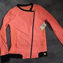 Bnwt Trina Turk Moto Recreation Jacket 154 Sz L - Peach/ Orange Free Shipping Photo