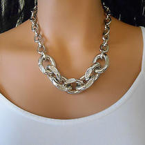 Bnwt Vince Camuto Necklace Silver Tone Thick Chain With Crystals 19