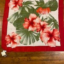 Bnwt Vintage Oscar De La Renta Floral Hawaiian 100% Silk Scarf 34 X 34 Photo