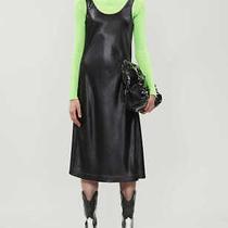 Bnwt Women's Acne Studios Black Satin Midi Dress Size 32 Photo