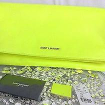 Bnwt Yves Saint Laurent Ysl Neon Yellow Envelop Clutch Luxurious  Hot  Photo