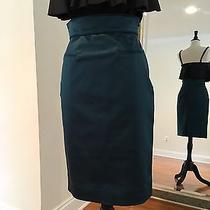 Bnwt Zac Posen Teal Sateen Silk Pencil Skirt Very Flattering Sz-4 Photo