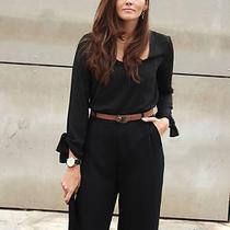 Bnwt Zara 2014 Black Jumpsuit With Wrist Ties Size S Photo