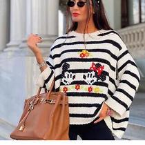 Bnwt Zara Mickey Mouse Disney Striped Knit Oversized Sweater. Size S. Photo