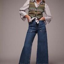 Bnwt Zara Premium 70s Work Wear Dream Marine Blue Jeans 8246/263 High Rise Uk4 Photo