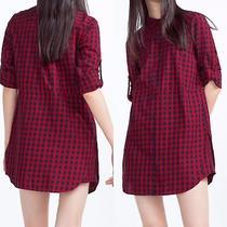 Bnwt Zara Red  Navy Checked Plaid  Tunic Dress Size M 9132/103 Photo