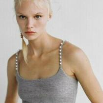 Bnwt Zara Soft Touch Crop Top - Grey (Size Medium) Photo