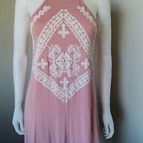 Bo Bel Blush Pink Off White Racerback Crochet Trim Rayon Sundress Dress Sz S Photo