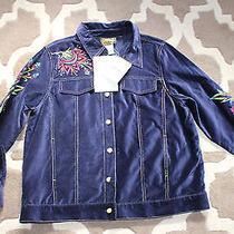 Bob Mackie Wearable Art Blue Velvet Fantasy Floral Jacket Aw2995 New Photo