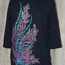 Bob Mackie Wearable Art Stunning  Underwater Fantasy Shirt Emb Sequins Black L Photo