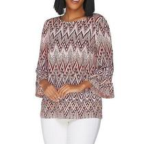 Bob Mackie Womens Top Blush Pink Size Xl Bell Sleeve Geometric Knit 50 153 Photo
