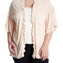 Bobeau Open Front Cardigan Sz Xl P Sweater Shawl Blush Pink Ruffle  Photo