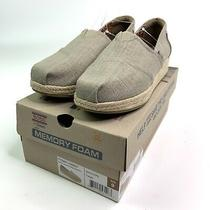 Bobs Skechers Womens Canvas Memory Foam Espadrille Wedge Shoes Taupe Size 9 M Photo