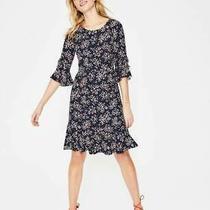 Boden Indie Dress Navy Dainty Floral Bloom Spot Ruffle Flounce Hem Size 16 R Photo