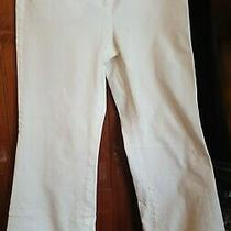 Body by Victoria Christie Fit White Wide Leg Pants Slash Pockets Cotton Blend 6 Photo