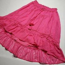 Boho Aeropostale Pink Smocked Waist Skirt Size Large Hi -Lo  Photo