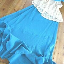Boho Anne Campbell Blue Cotton Crepe Spiral Cut Midi Skirt Size Med 12-Ish Nwt  Photo