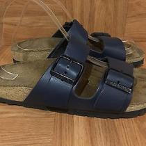 Boho Birkenstock Arizona Sandals Navy Blue Leather Straps Women's Sz 39 8 8.5 Photo