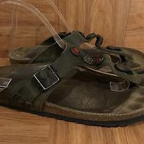 Boho Birkenstock Gizeh Sandals Jeweled Leather Strap Sz 39 8 8.5 Photo